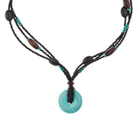 Necklace & Pendants - BLUE TURQUOISE RHINESTONES MULTI STRING BLACK BROWN BEAD TOGGLE CLASP PENDANT NACKLACE alternate image 2.