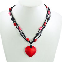 Necklace & Pendants - GARNET RED STRIPED HEART LAMPWORK MURANO GLASS MULTI STRING WITH BLACK RED PINK BEAD TOGGLE CLASP PENDANT NECKLACE alternate image 1.