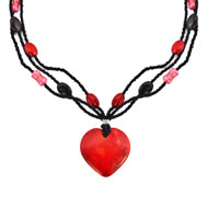 Necklace & Pendants - GARNET RED STRIPED HEART LAMPWORK MURANO GLASS MULTI STRING WITH BLACK RED PINK BEAD TOGGLE CLASP PENDANT NECKLACE alternate image 2.