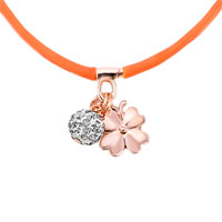 New Arrivals - CLEAR WHITE CRYSTAL FASHION DESIGN ROSE PINK SILICONE DANGLE BALL AND FLOWER NECKLACE PENDANT alternate image 1.