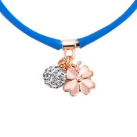 Necklace & Pendants - CLEAR WHITE CRYSTAL FASHION SAPPHIRE BLUE SILICONE DANGLE BALL AND FLOWER NECKLACE PENDANT alternate image 1.