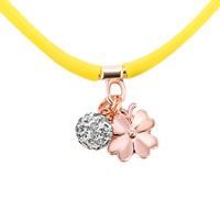 New Arrivals - CLEAR WHITE CRYSTAL POPULAR TOPAZ YELLOW SILICONE DANGLE BALL AND FLOWER NECKLACE PENDANT alternate image 1.