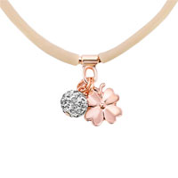 New Arrivals - CLEAR WHITE CRYSTAL FASHION KHAKI SILICONE RUBBER DANGLE BALL AND FLOWER NECKLACE PENDANT alternate image 1.