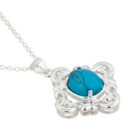 Necklace & Pendants - STERLING SILVER TURQUOISE BLUE LAPIS REVERSIBLE PENDANT NECKLACE  18 alternate image 1.