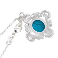 Necklace & Pendants - STERLING SILVER TURQUOISE BLUE LAPIS REVERSIBLE PENDANT NECKLACE  18 alternate image 2.