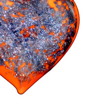 Necklace & Pendants - ORANGE MURANO GLASS HEART WITH PURPLE GLITTER PENDANTS alternate image 1.
