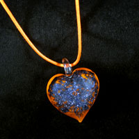Necklace & Pendants - ORANGE MURANO GLASS HEART WITH PURPLE GLITTER PENDANTS alternate image 2.