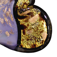 Necklace & Pendants - LIGHT PURPLE AND GOLD GLITTER MURANO GLASS HEART PENDANTS alternate image 1.