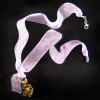 Necklace & Pendants - LIGHT PURPLE AND GOLD GLITTER MURANO GLASS HEART PENDANTS alternate image 2.