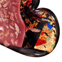 Necklace & Pendants - LIGHT CORAL AND BLACK MURANO GLASS HEART WITH MULTICOLOR ARTISTIC GLITTER PENDANTS alternate image 1.