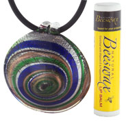 Necklaces - MOTHERS DAY GIFTS MURANO GLASS ROUND MULTICOLORED SPIRAL NECKLACE PENDANT alternate image 1.