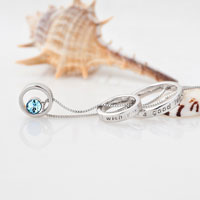 relation - TRINITY RING HOOPS NECKLACE AQUAMARINE BLUE SWAROVSKI ELEMENTS CRYSTAL BITHSTONE PENDANT alternate image 1.