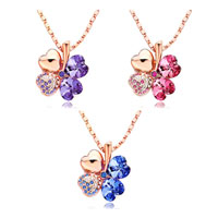 Necklace & Pendants - ROSE GOLD FOUR LEAF CLOVER FEBRUARY BIRTHSTONE PURPLE SWAROVSKI CRYSTAL HEARTS ROSE BENGAL PENDANT NECKLACE FOR WOMEN alternate image 2.
