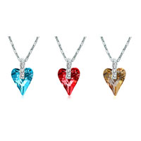 Necklace & Pendants - CLASSIC CRYSTAL GOLDEN SHADOW SWAROVSKI CRYSTAL WILD HEART PENDANT NECKLACE FOR WOMEN alternate image 2.