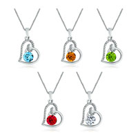 Necklace & Pendants - HEART APRIL BIRTHSTONE CLEAR CRYSTAL CZ PENDANT NECKLACE FOR WOMEN EARRINGS alternate image 2.