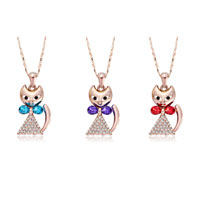 Necklace & Pendants - ROSE GOLD CAT CLEAR CRYSTAL CZ FEBRUARY TANZANITE PENDANT NECKLACE EARRINGS alternate image 2.