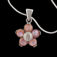 Necklace & Pendants - STERLING SILVER FAUX PEARL ACCENTED FLOWER PENDANT NECKLACE alternate image 1.