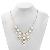 Necklaces - STATEMENT NECKLACE CLEAR WHITE SEMI PRECIOUS STONE DANGLE PENDANT  18'' alternate image 1.