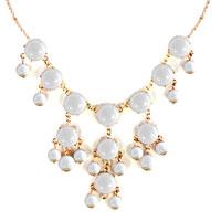 Necklaces - STATEMENT NECKLACE CLEAR WHITE SEMI PRECIOUS STONE DANGLE PENDANT  18'' alternate image 2.