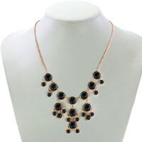 Necklaces - STATEMENT NECKLACE BLACK SEMI PRECIOUS STONE DANGLE PENDANT NECKLACE  18'' alternate image 1.