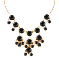 Necklaces - STATEMENT NECKLACE BLACK SEMI PRECIOUS STONE DANGLE PENDANT NECKLACE  18'' alternate image 2.