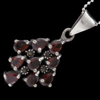 Necklace & Pendants - RUBY RED CZ DIAMOND SHAPE PENDANT NECKLACE STERLING SILVER PENDANT alternate image 1.