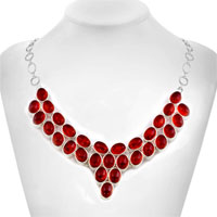Necklace & Pendants - LIGHT RED GOTHIC VINTAGE WATER DROP OVAL CRYSTAL ENCRUSTED TWO TONE TOGGLE CLASP PENDANT NECKLACE alternate image 1.