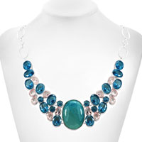 Necklaces - HOT FASHION CHUNKY BUBBLE STATEMENT BIB TURQUOISE TOPAZ NECKLACE PENDANT alternate image 1.