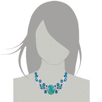 Necklaces - HOT FASHION CHUNKY BUBBLE STATEMENT BIB TURQUOISE TOPAZ NECKLACE PENDANT alternate image 3.