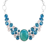Necklaces - HOT FASHION CHUNKY BUBBLE STATEMENT BIB TURQUOISE TOPAZ NECKLACE PENDANT alternate image 2.