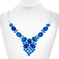 Necklaces - STATEMENT NECKLACE CHUNKY BUBBLE AQUAMARINE BLUE WATER DROP PENDANT alternate image 1.