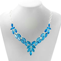 Necklaces - AQUAMARINE BLUE GOTHIC VINTAGE WATER DROP OVAL CRYSTAL ENCRUSTED TWO TONE TOGGLE CLASP PENDANT NECKLACE alternate image 1.