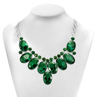 Necklace & Pendants - RETRO CHUNKY BUBBLE BIB EMERALD GREEN WATER DROP STATEMENT NECKLACE PENDANT alternate image 1.