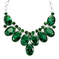 Necklace & Pendants - RETRO CHUNKY BUBBLE BIB EMERALD GREEN WATER DROP STATEMENT NECKLACE PENDANT alternate image 2.