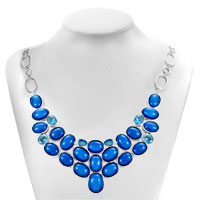 Necklace & Pendants - STATEMENT NECKLACE CHUNKY BUBBLE SAPPHIRE BLUE BIB STATEMENT WATER DROP NECKLACE FASHION JEWELRY FOR WOMEN PENDANT alternate image 1.