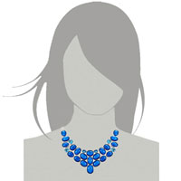Necklace & Pendants - STATEMENT NECKLACE CHUNKY BUBBLE SAPPHIRE BLUE BIB STATEMENT WATER DROP NECKLACE FASHION JEWELRY FOR WOMEN PENDANT alternate image 3.