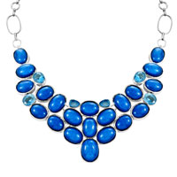 Necklace & Pendants - STATEMENT NECKLACE CHUNKY BUBBLE SAPPHIRE BLUE BIB STATEMENT WATER DROP NECKLACE FASHION JEWELRY FOR WOMEN PENDANT alternate image 2.
