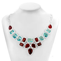 Necklaces - STATEMENT NECKLACE CHUNKY BUBBLE GARNET RED AQUAMARINE BLUE BIB WATER DROP PENDANT alternate image 1.