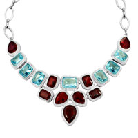Necklaces - STATEMENT NECKLACE CHUNKY BUBBLE GARNET RED AQUAMARINE BLUE BIB WATER DROP PENDANT alternate image 2.
