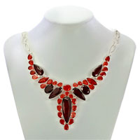 Necklace & Pendants - STATEMENT NECKLACE CHUNKY BUBBLE LIGHT RED GARNET RED WATER DROP PENDANT alternate image 1.