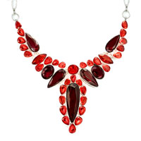 Necklace & Pendants - STATEMENT NECKLACE CHUNKY BUBBLE LIGHT RED GARNET RED WATER DROP PENDANT alternate image 2.