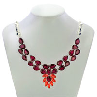 Necklaces - STATEMENT NECKLACE CHUNKY BUBBLE GARNET RED TEARDROP BIB PENDANT alternate image 1.