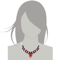 Necklaces - STATEMENT NECKLACE CHUNKY BUBBLE GARNET RED TEARDROP BIB PENDANT alternate image 3.