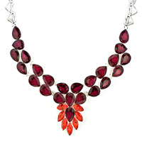 Necklaces - STATEMENT NECKLACE CHUNKY BUBBLE GARNET RED TEARDROP BIB PENDANT alternate image 2.