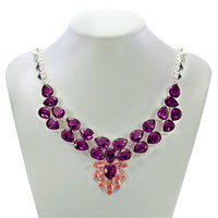 Necklaces - STATEMENT NECKLACE CHUNKY BUBBLE AMETHYST PURPLE TEARDROP BIB PENDANT alternate image 1.