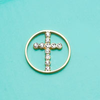 Floating Charms - RELIGIOUS FAITH CRYSTAL PAVE GOLDEN CROSS WINDOW PLATE LOVE MOM GIFT alternate image 2.
