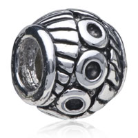 European Beads - DRUM SHAPED ABSTRACT MULTIPLE CIRCLE SILVER PLATED BEADS CHARMS BRACELETS alternate image 1.