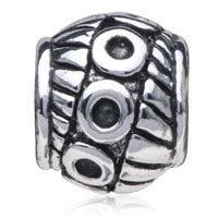 European Beads - DRUM SHAPED ABSTRACT MULTIPLE CIRCLE SILVER PLATED BEADS CHARMS BRACELETS alternate image 2.