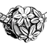 European Beads - BRIGHT CHRYSANTHEMUM SILVER PLATED BEADS CHARMS BRACELETS alternate image 1.