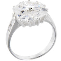 Sterling Silver Jewelry - TRILLION CUT CZ PINWHEEL STERLING SILVER ANNIVERSARY RIGHT HAND RING alternate image 1.